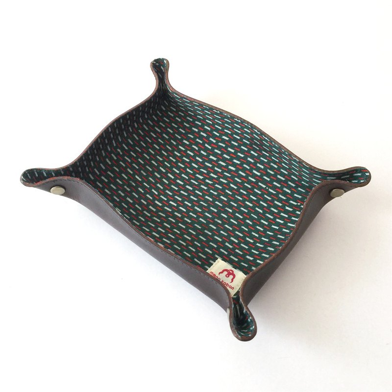 Tanned Leather tray with Japanese Traditional Pattern, Kimono