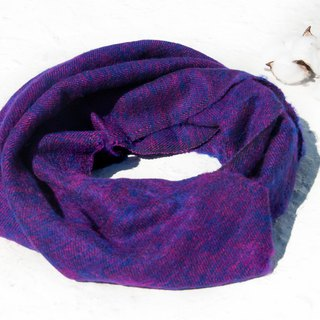 Christmas gift pure wool scarf / handmade knit scarf / woven scarf / pure wool scarf - blue purple stars