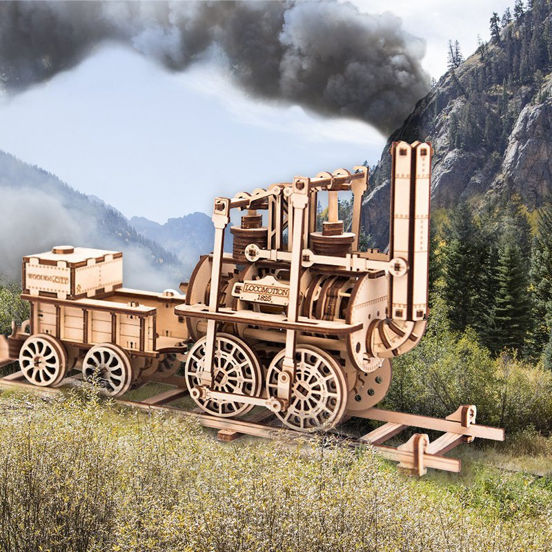 Handmade power model steam locomotive wooden combination movable toy