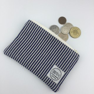Blue and white stripes * coin purse / storage bag