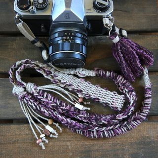 Hand-spun knitted hemp string camera strap - purple / double ring