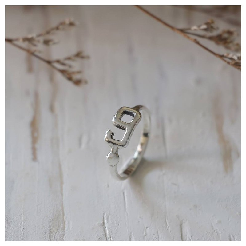 Number 9 nine Minimal ring Smooth handmade lady women Girl silver thin modern