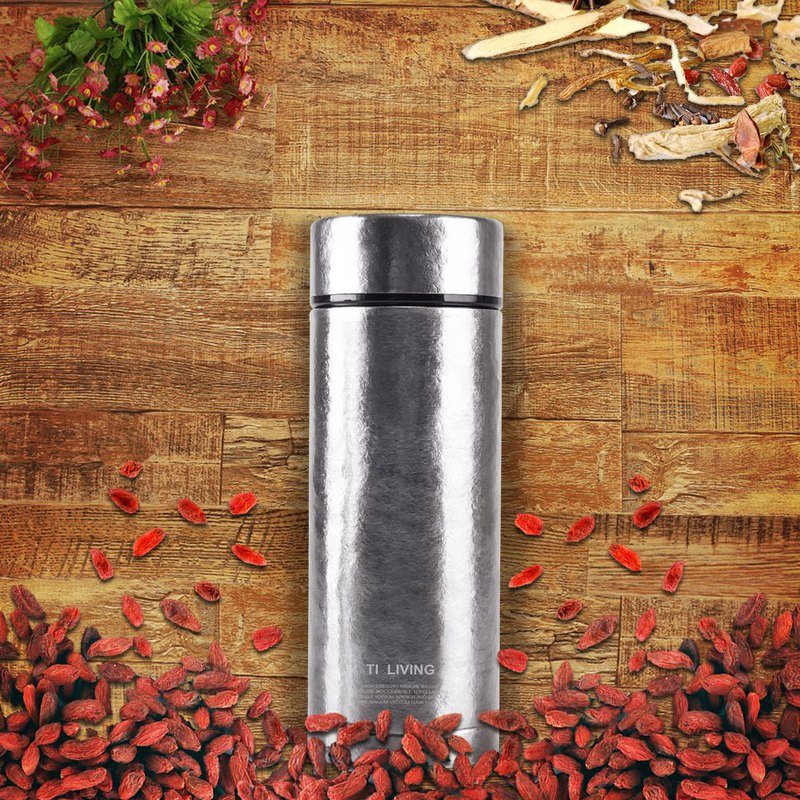 Ti-living pure titanium vacuum insulation-health tea cup 380ml-qinxue silver-tea strainer