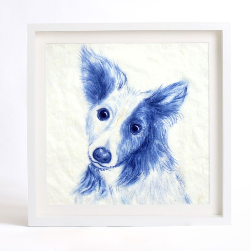 Custom Pet portraits - painted blue and white series 30x30cm Heart (excluding frame)