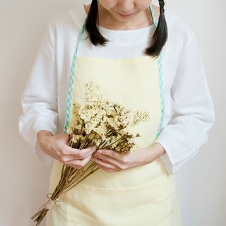 Linen Apron in Yellow Lemon with Green Edge Gift for her