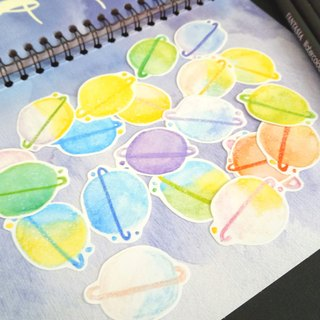 Watercolor Planets Sticker Set