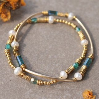 Pearl brass bracelet 1142-two good