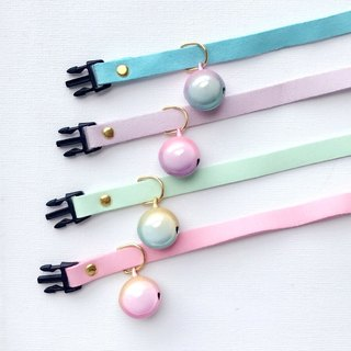 Gradient duo-color reflective pearl color bell handmade pet collar