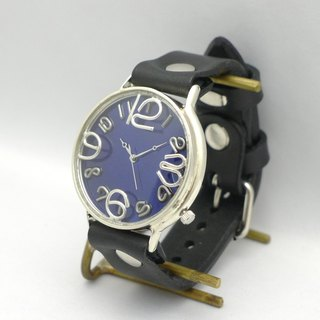 "Hand made watch HandCraftWatch ""GRANDAD 2 - SV"" oversized JUMBO Silver color dial BL / BK [JUM 116 BSV BL / BK]"