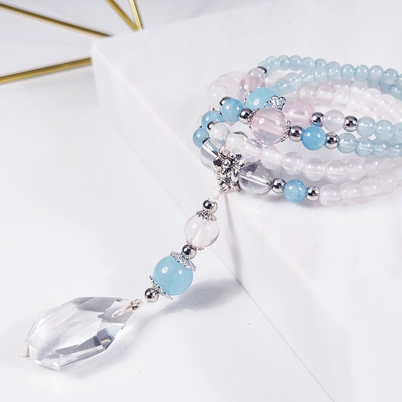 Natural powder crystal sea blue treasure white crystal cross flag 108 bracelet rosary 4-6mm only one comrade