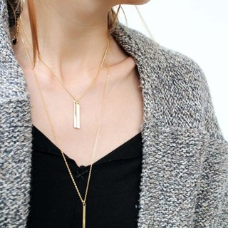Twin Initial Bar Necklace / Gold Name Plate Necklace