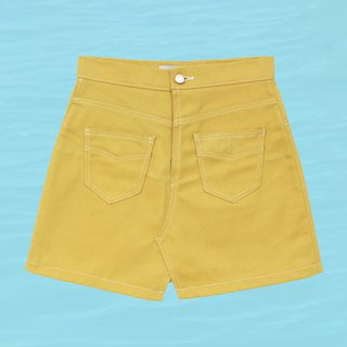 A-line high waist skirt - yellow