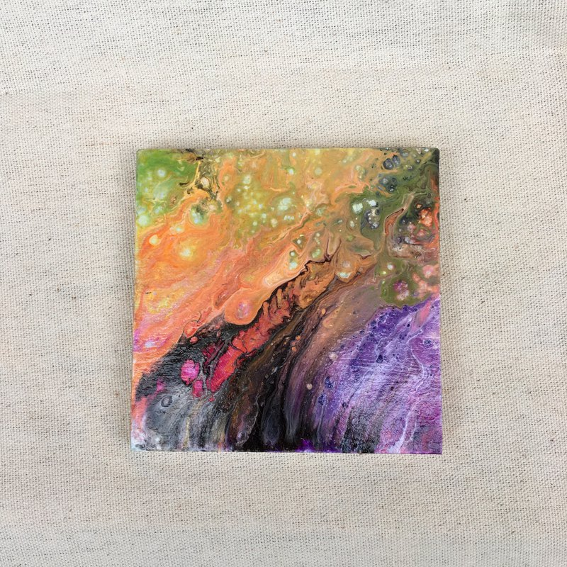 Woowood-flow painting art coaster