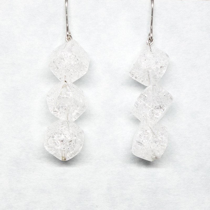 3 crystal cube earrings【Pio by Parakee】自然水晶耳環