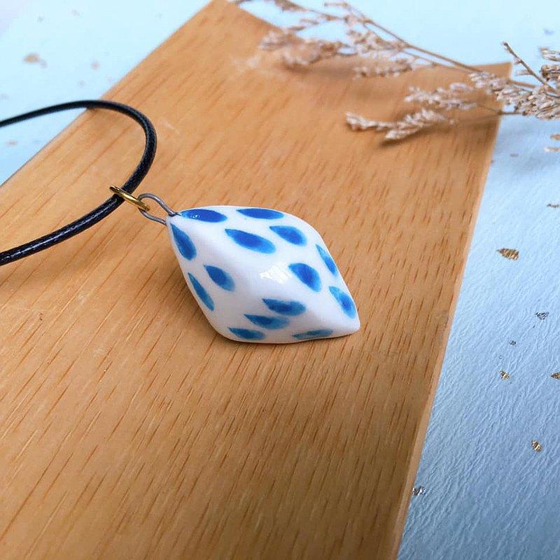 手作白瓷 下起雨藍 香水精油項鍊 擴香