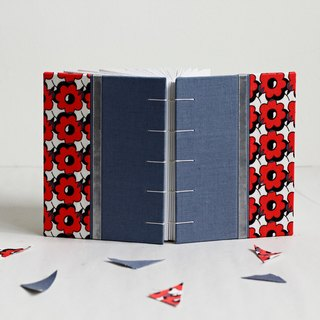 Small Size Coptic Bound Notebook. Salvia Blue and Red Flower. Decorated with Ribbon