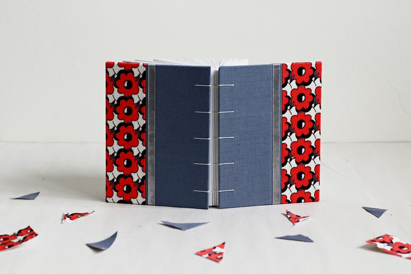 Hand Bound Notebook Salvia Blue and Red Flower, Decorated with Ribbon