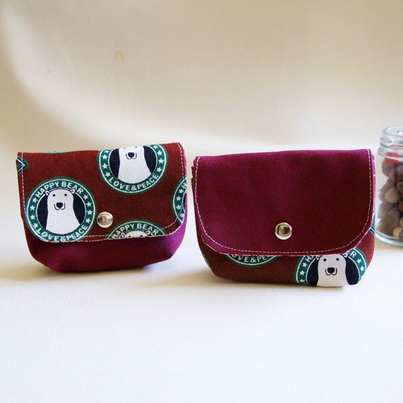 Cotton Fabric: Canvas Coin Purses, red canvas +Polar bear