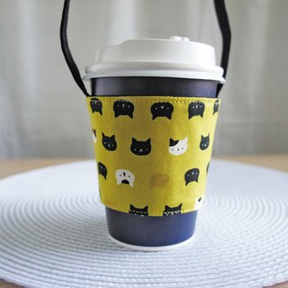 Lovely Japanese cloth [hot stamping cat head drink cup bag] environmental protection beverage cup, mustard yellow