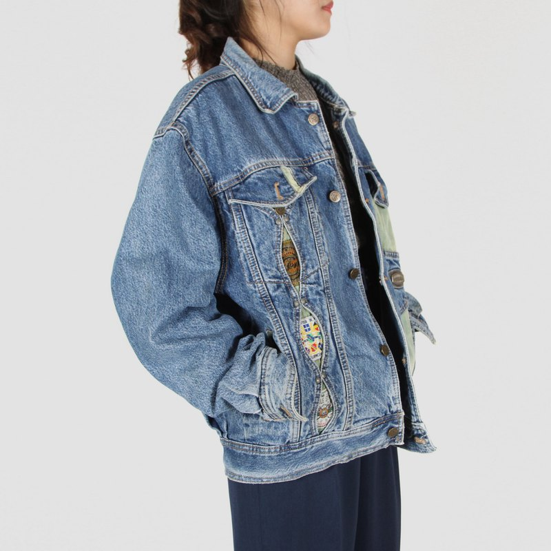 [Egg plant vintage] Celebration gap wide version of vintage denim jacket