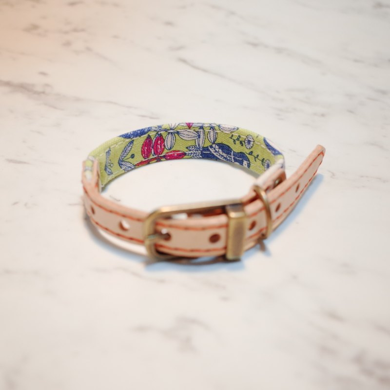 Dog collars, S size, happy green forest_DCJ090412