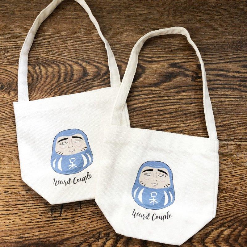 藍色阿呆達摩圖案 環保飲料提袋一個
