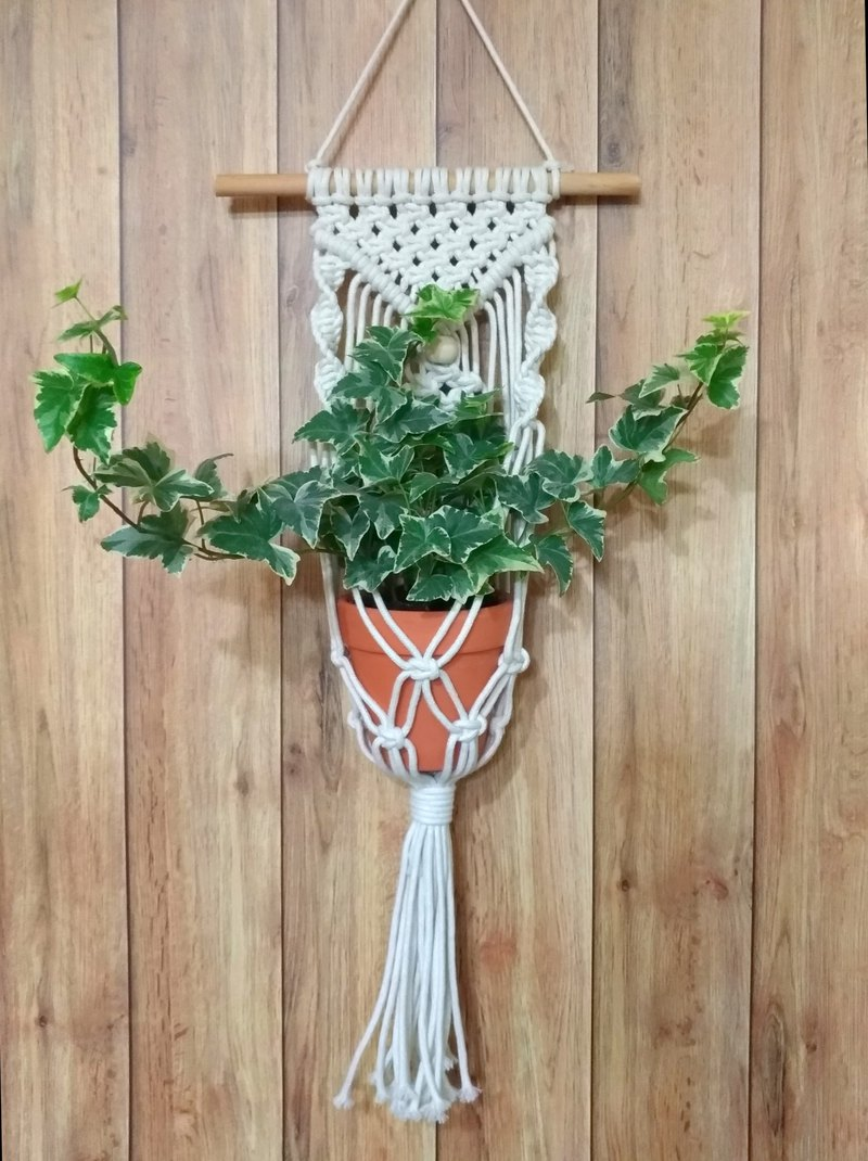 [Weaving hanging basin Macrame Hanging] 植植_ Nordic wind wall decoration with basin, planting graduation