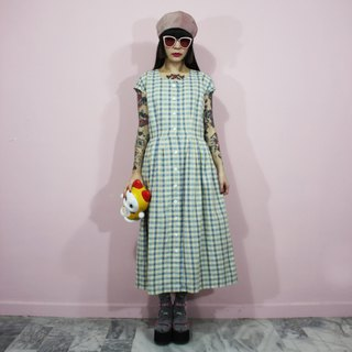 (Vintage Dress) Blue and Yellow Plaid Breasted Japanese Vintage Dress (Birthday Present) F3228