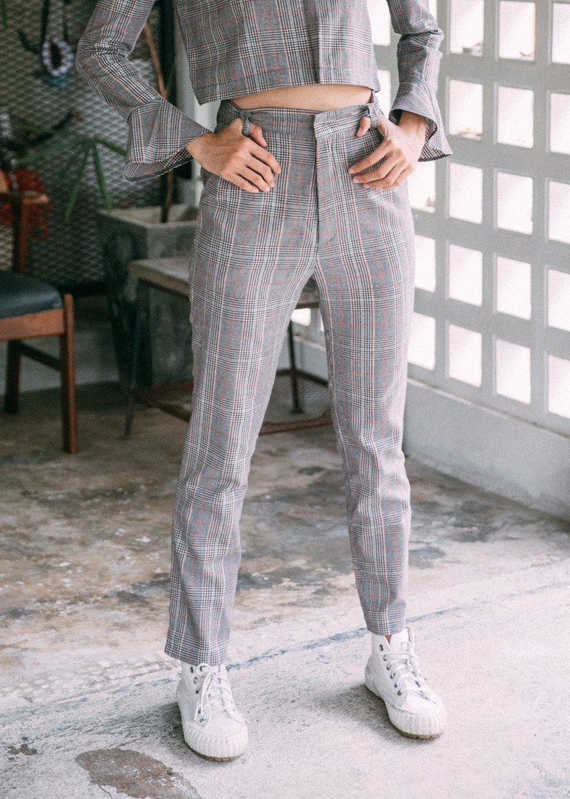 (SIZE M) WARM GREY CHECK PLAID HIGH WAIST PANTS WITH POCKETS
