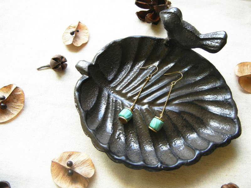 *coucoubird*retro blue and green cylindrical earrings / length can be customized