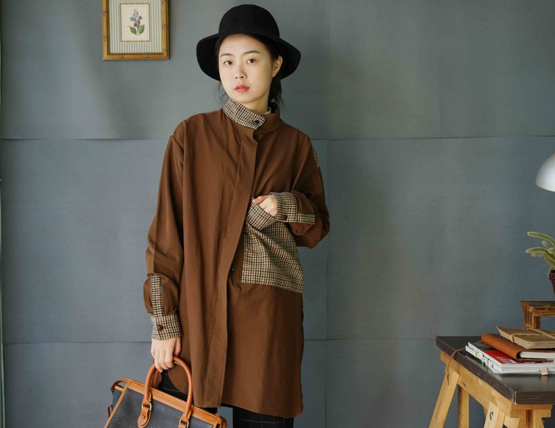 Handmade-Dark Brown Stitched Houndstooth Long Lining Dress
