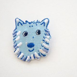 Blue Purple Smile Wavelet Dog Embroidery Pin / Patch