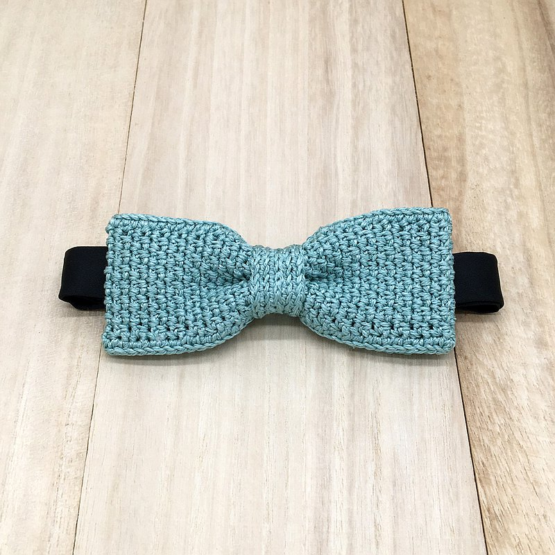 Turquoise Adjustable Bow Tie - Crochet Bow Ties made of Premium Egypt Silk Yarn