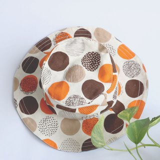 MaryWil double-faced handsome hat hat - coffee orange geometry little