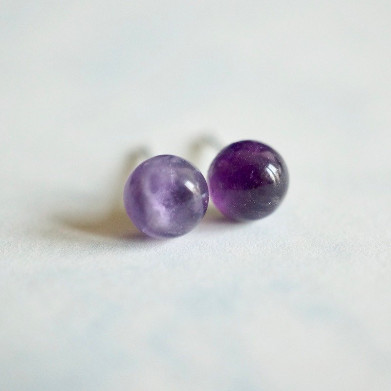 ITS-E205 [Earrings Series, Minimalist Natural Stone, 6mm] Amethyst Earrings Earrings