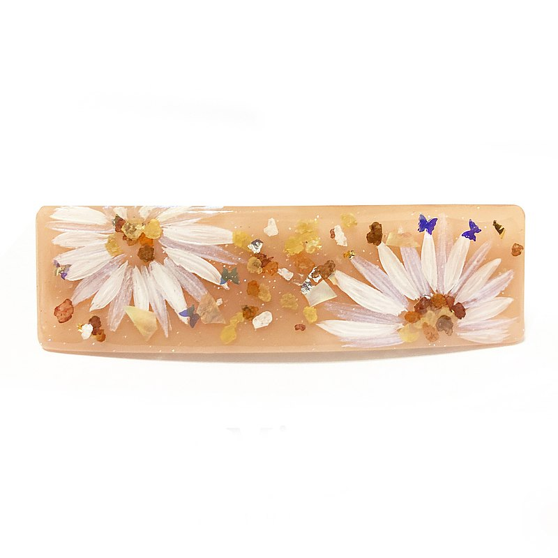 Japanese resin   Milk tea color hand-painted flower spring clip