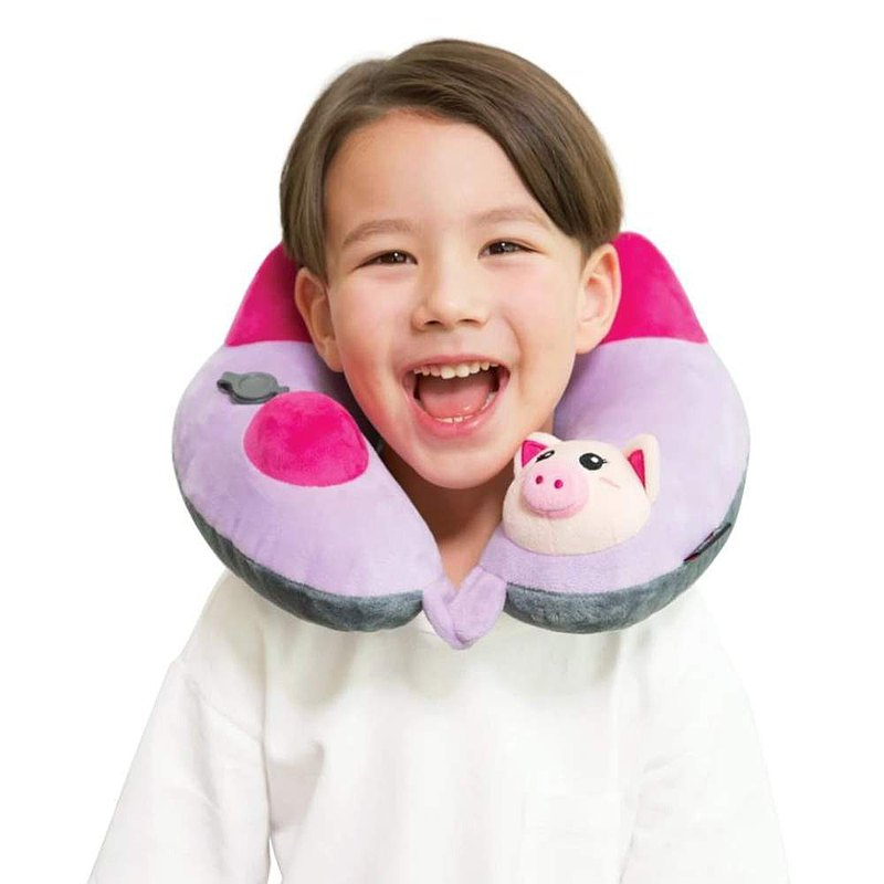 3D專利按壓式充氣頸枕  小豬版