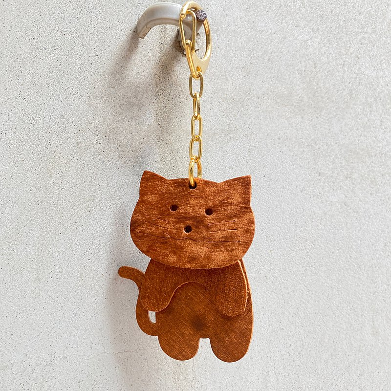 Cloud pattern cowhide cute shaking cat key ring-tabby