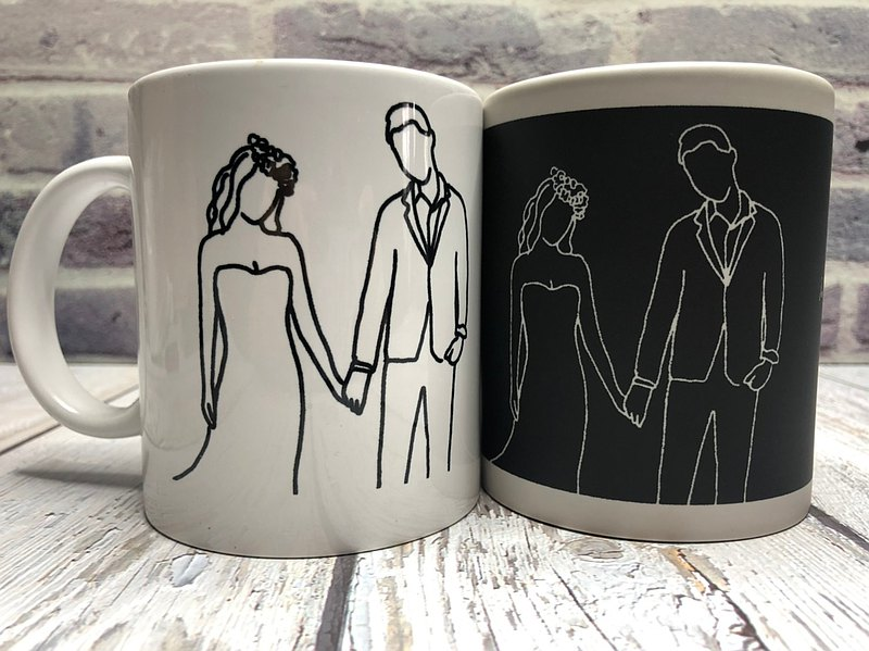 Customized Q version mug [Line drawing + color changing cup] Like Yanhui hand-painted portrait gift