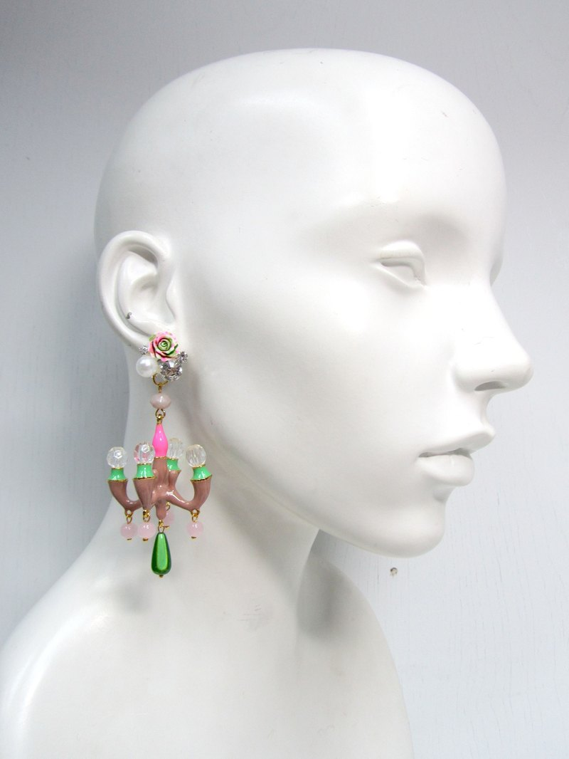 TIMBEE LO signature style giant chandelier earrings colorful rainbow crystal lamp gorgeous dress