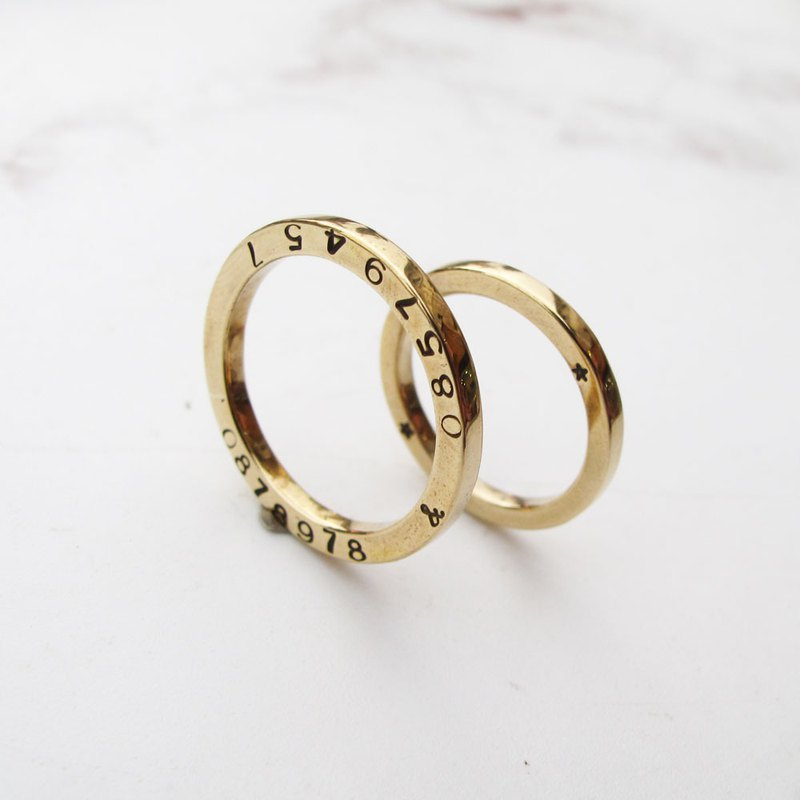 Da Yuan 囡仔【Handmade×Customized】Brass×Type×Three-dimensional Square Couple Ring (One Pair)