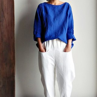 Spot fork shoulder linen long-sleeved shirt linen blue thick linen