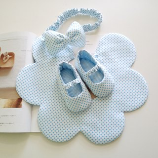 Blue little bit of beauty gift hair + baby shoes + bib