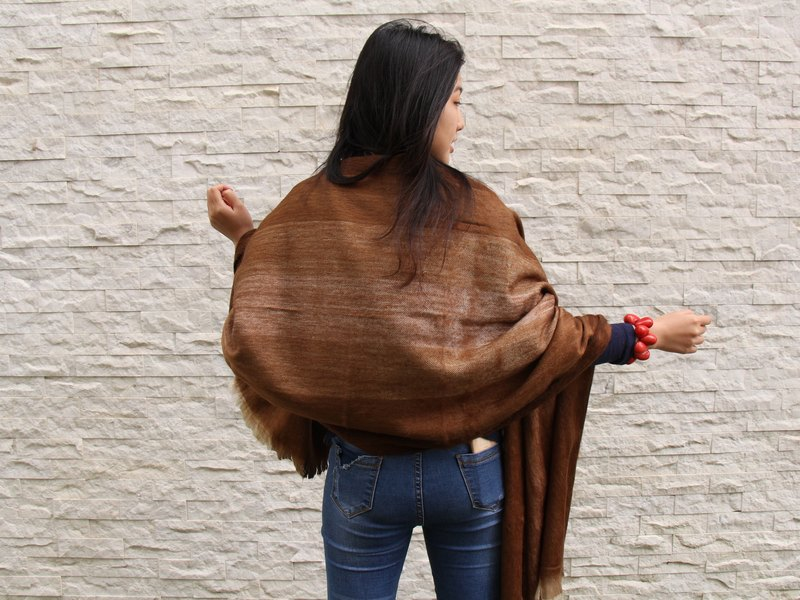 South American hand made alpaca shawl long hair