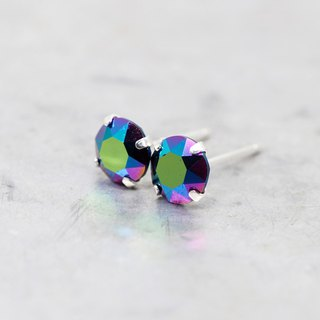 Egyptian Green Swarovski Crystal Earrings, Sterling Silver, 6mm Round