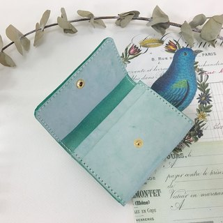 Graduation gift wax wax lake green card holder / business card holder _ leather hand-stitched Business Card holder