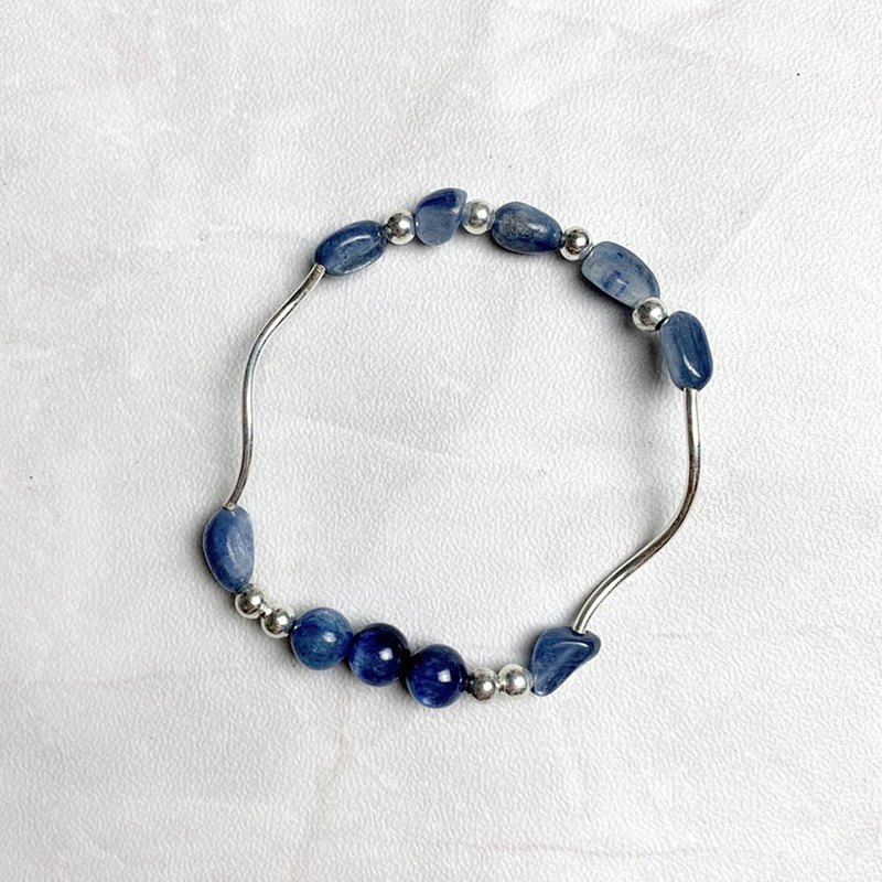 | Elbow Series | Kyanite Conformal Kyanite (S925 Sterling Silver x Bracelet x Handmade x Customized.)