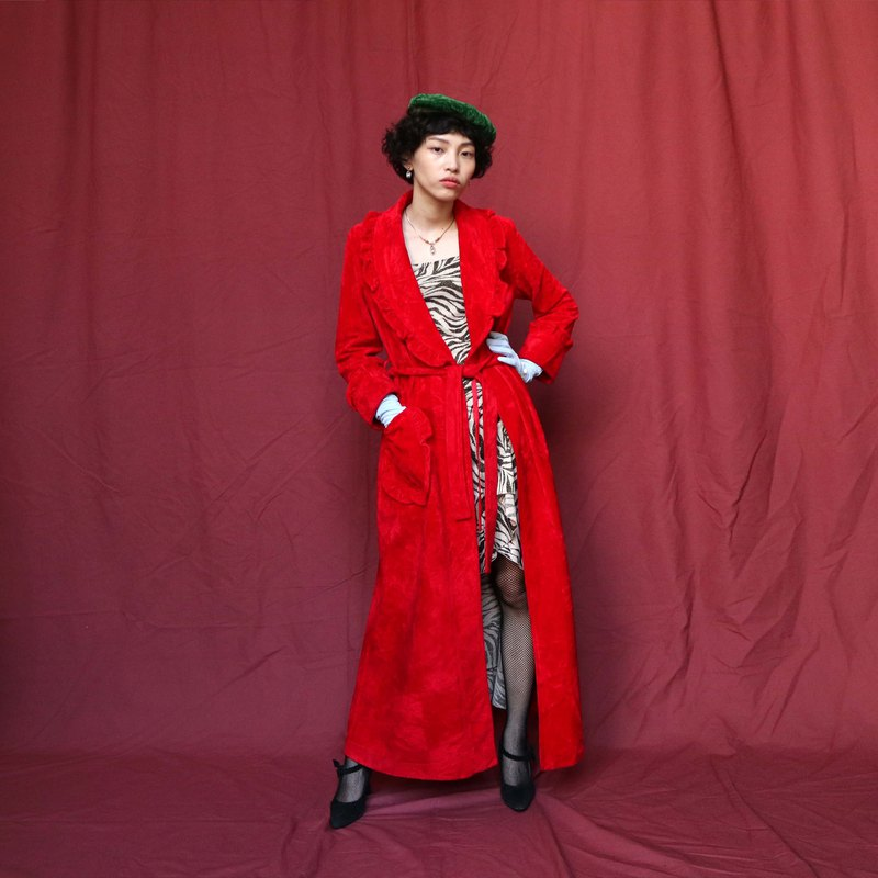 Pumpkin Vintage. Ancient red ornate suede-style coat coat