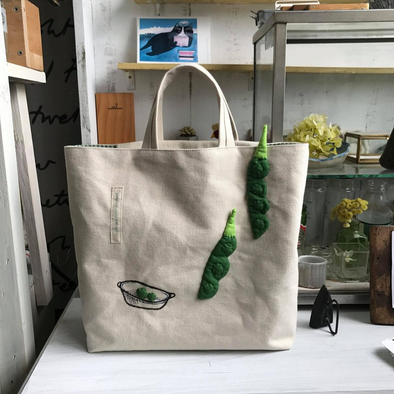 Double green pea tote / rice white