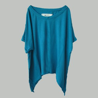 Blue long loose casual T-shirt